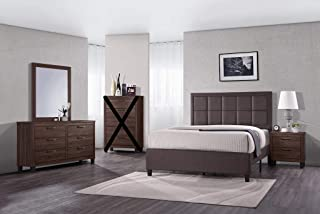GTU Furniture Contemporary Styling Warm Brown 4Pc Queen Bedroom Set(Q/D/M/N)