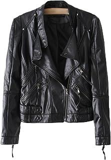 Sentao Women's Casual Classic Lapel Faux Leather Zipper Biker Slim Short Jacket Outwear