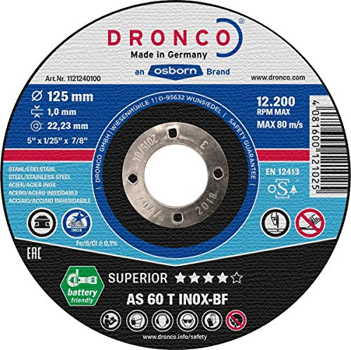 115 Mm Di/ámetro 22.23 Mm Di/ámetro Eje 6 Mm Espesor Metal As 30 Inox Special Dronco AS30INOX-115-6 Discos de Desbaste Set de 10 13,280 RPM