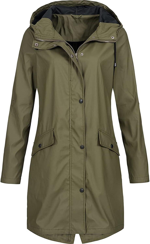 Rain Coats for Women Waterproof Lightweight Hooded Jackets Solid Zip Up Casual Long Windbreaker Tops Plus Size Sweatshirts (XX-Large, A1~Army Green)