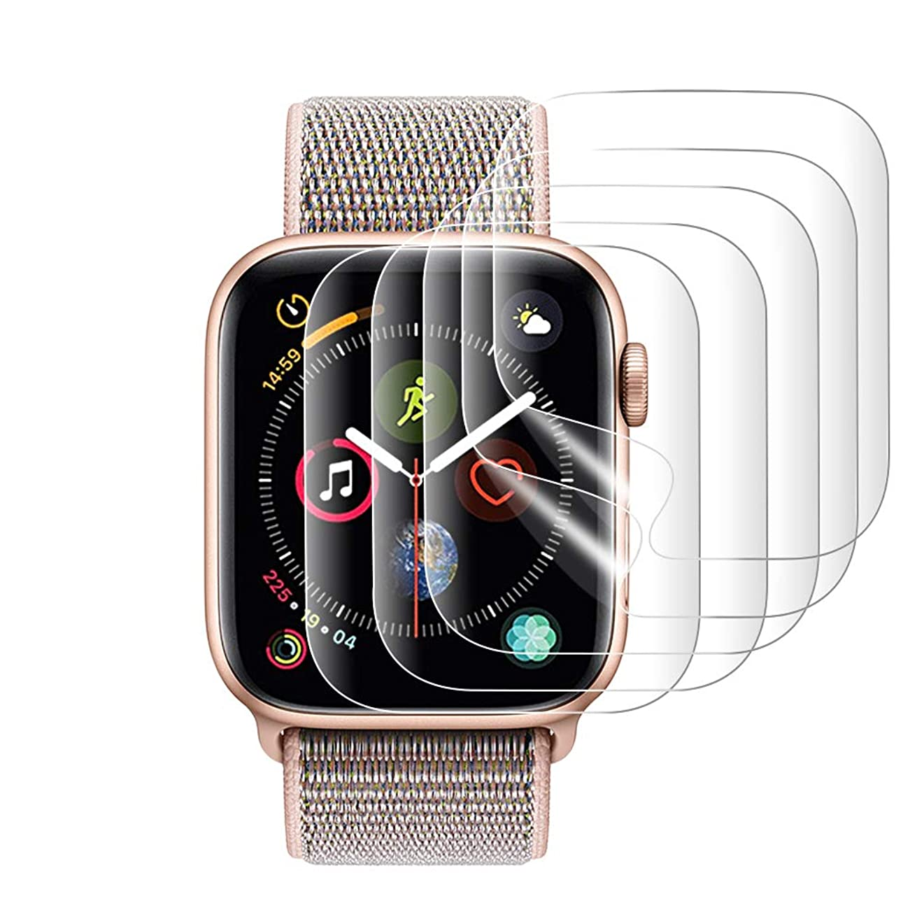 ソロお暖かく『改善版全面保護』AUNEOS Apple Watch Series 4 フィルム Apple Watch 保護フィルム TPU製 高透過率 耐指紋 24時間内気泡自動消え アップルウォッチ フィルム (Series 4, 44mm 5枚)