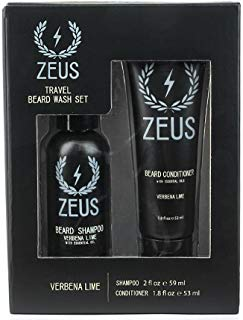 ZEUS Travel Beard Shampoo (2 oz) and Beard Conditioner (1.8 oz) Set for Men (Scent: Verbena Lime)