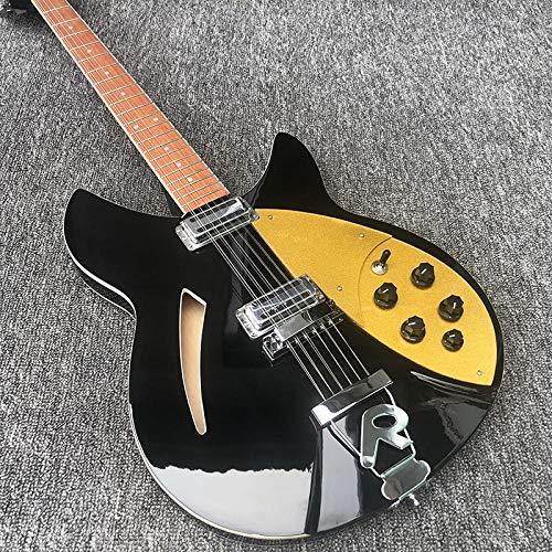 MLKJSYBA Guitarra Cuerpo De Pintura Negra De La Guitarra Eléctrica De 12 Cuerdas con Guitarras De Cuerda De Acero Acústico De Escudo De Oro Guitarras acústicas (Color : Guitar, Size : 41 Inche