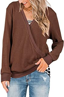 Abninigee Womens Wrap V Neck Waffle Knit Sweaters Casual Long Sleeve Pullover Tunic Tops