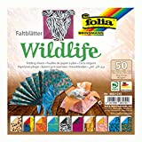 folia 495/1515 - Faltblätter Wildlife, 15 x 15 cm, 80 g/qm, 50 Blatt sortiert in 10 Motiven - ideal für wunderschöne Faltfiguren und -formen