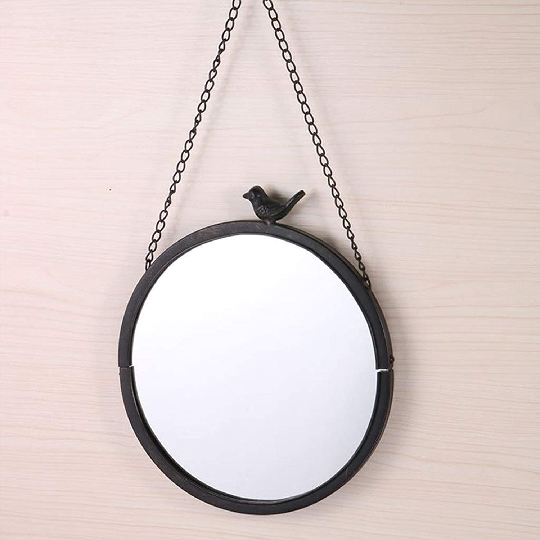 RXY-mirror Wall-Mounted Home Decoration Mirror, Vintage Metal Craft Makeup Mirror (color   Black)