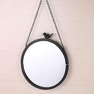 GJH-Miroir Miroir Mural de décoration pour la Maison, Miroir Vintage de Maquillage de métier en métal (Color : Black)