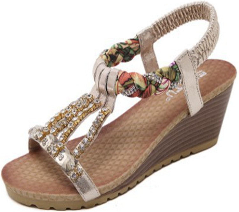 T-JULY Womens Ladies Fashion Wedge Sparkle Heels Bohemia Diamond Chains Bling Womens Sandals Comfy Dressy Walking Sandals