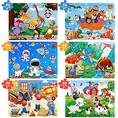 TEPSMIGO Jigsaw Puzzles for Kids Age 3-8, 6 Pack Wooden Jigsaw Puzzles 40/60/80 Pieces Preschool Educational Learning Toys Set for Boys and Girls