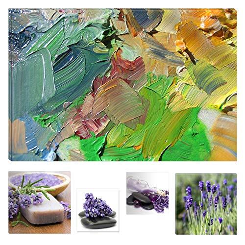 Eco Light Wall Art Bundle sur Toile Fascinant Peinture à l'huile sur Toile Sensation 80 x 120 cm pour décoration intérieure et Jolie Chambre à Coucher Lavande Collage Lot de 4 encadrée Illustrations.