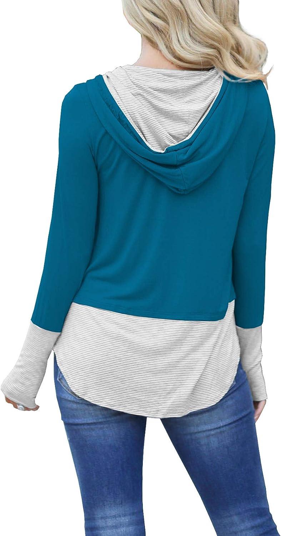 iGENJUN Women's Long Sleeve Pullover Hoodies Tops Casual Color Block Drawstring Sweatshirts with Thumbholes