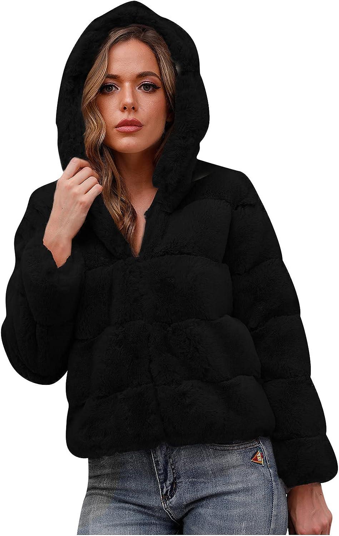 Women's Long Sleeve Lapel Furry Faux Solid Jacket Coat Plain Casual Zipper Up Soft Faux Rabbit Outwear