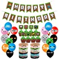 Pixel Style Gamer Party Supplies, Miner Theme Birthday Party Favors and Decors Set Includes 1 Banner, 20 Balloons, 24 Cupcake Toppers, 24 Wrappers, 18 Bracelets by JF PARTY
