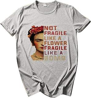 Kewing T-Shirt Ampia da Donna con Scollo a O T-Shirt Manica Corta con Stampa Grafica Lettera di Pittura a Olio Casual T-Sh...