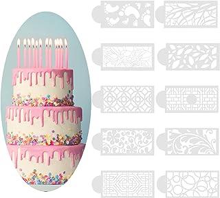 10Pcs Pochoir Patisserie Gâteau, Pochoirs de Cuisson en Plastique,Tapis d'Impression Fondants Réutilisable pour Bricolage ...