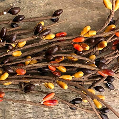 TAKAZOON Floral Décor Supplies for PIP Berry Garland Orange Mustard Brown 48' Primitive Country Fall Harvest Autumn for Primitive Fall Decor, Christmas Decorations.