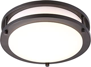 Cloudy Bay LED Flush Mount Ceiling Light,10 inch,17W(120W Equivalent) Dimmable 1150lm,3000K Warm White,Oil Rubbed Bronze Round Lighting Fixture for Kitchen,Hallway,Bathroom,Stairwell