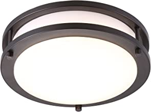 نور خورشید خورشید خورشیدی LED Flush Mount Ceiling Light، 10 اینچ، 17W (120 وات معادل) قابل تنظیم 1150lm، 3000K گرمایش سفید، روغن مهر و موم شده برنز گرد و غرفه روشنایی برای آشپزخانه، راهرو، حمام، پله