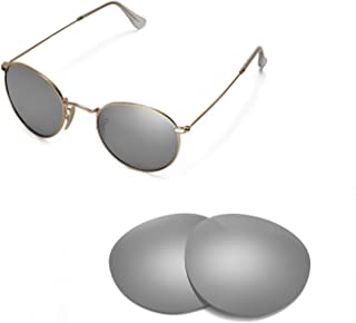 Walleva Replacement Lenses for Ray-Ban Round Metal RB3447 50mm Sunglasses - Multiple Options
