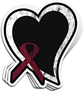 VFreeM 3 PCs Stickers Burgundy Ribbon Awareness Oral Head and Neck Cancers Squamous Cell Carcinoma Throat Cancer 3x4 Inch Die-Cut Wall Decals for Laptop Window