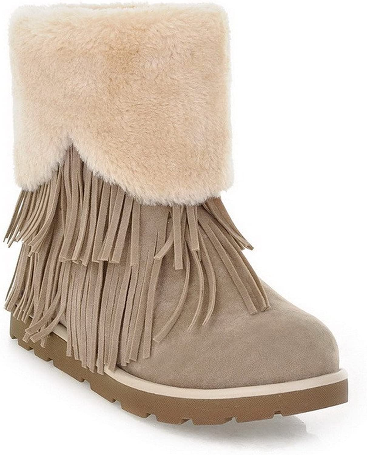 AmoonyFashion Womens Round Closed Toe Low Heels PU Frosted Imitated Lamb Wool Solid Boots with Tassels, Beige, 7.5 B(M) US