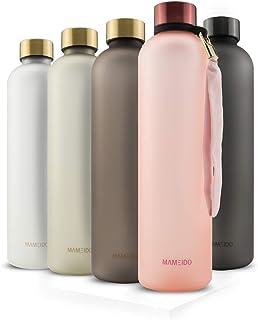 MAMEIDO Bottiglia Acqua 1 litro - Borraccia plastica Tritan a tenuta stagna, senza BPA - bottiglia motivazionale con orari...