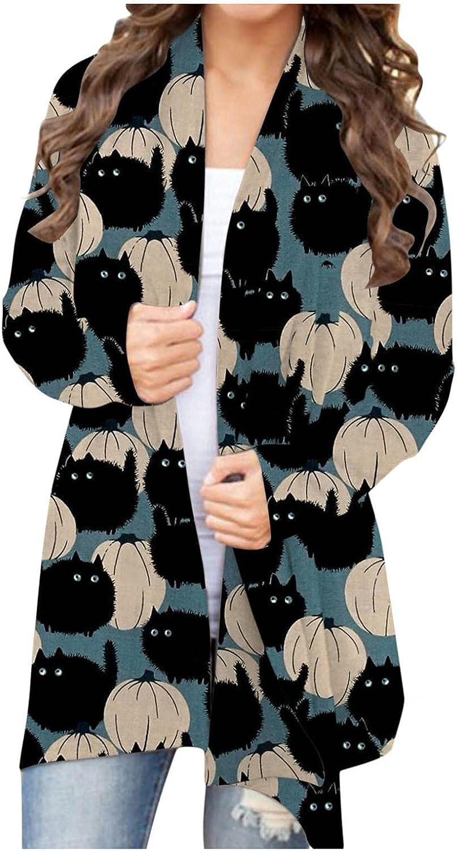 Women's Pumpkin Cat Cardigan Halloween Long Sleeve Open Front Knit Sweater Overwear Coat Plus Size Sweatshirt