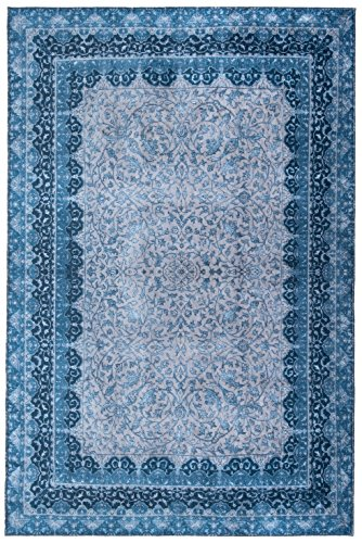 Mylife Rugs Traditional Vintage Non Slip Machine Washable Printed Area Rug, Blue Grey 4'x6'