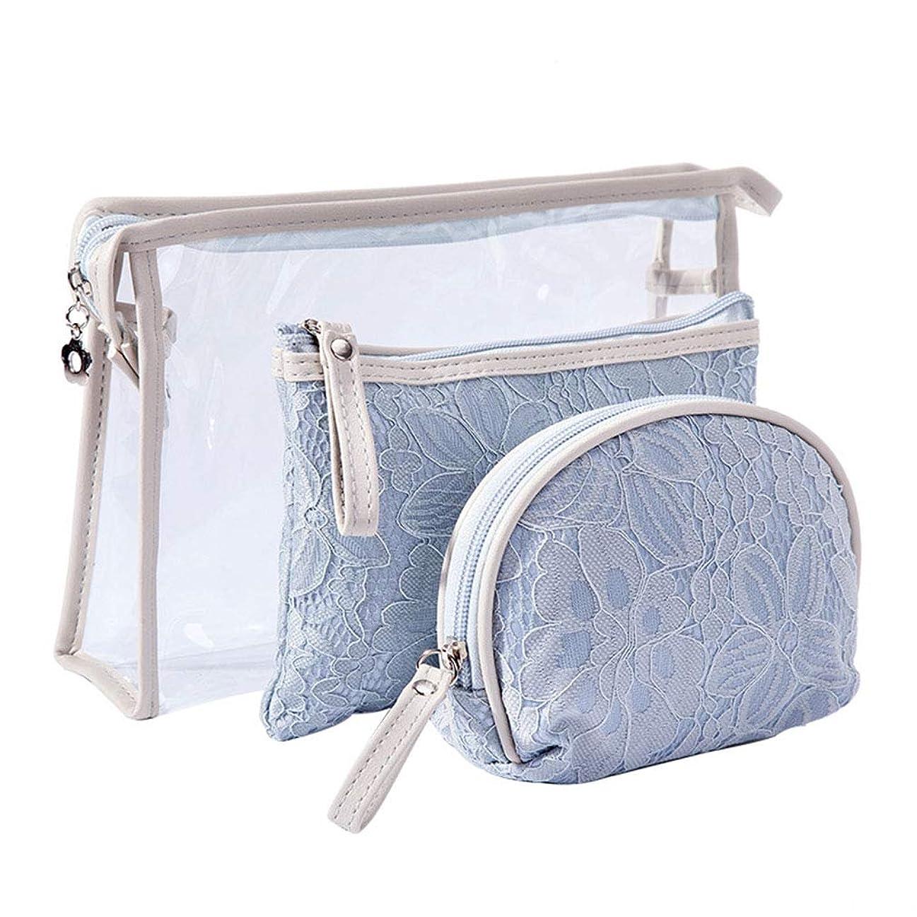 Allforlife 化粧ポーチ 洗面具ポーチ トラベルポーチ 多機能な収納バッグ 実用3点セット 持ち運び用 大容量 かわいい (スカイブルー)