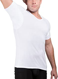 Ejis Men's Sweat Proof Undershirt, V Neck, Anti-Odor Silver, Cotton, Sweat Pads