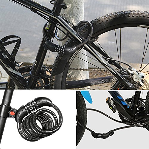 UMFun Bike Lock High Security 5 Digit Resettable Combination Coiling Cable Lock Best, Bike/Lock/Basket/Rack/Light/Rack/Accessories/Bag/Lock with Key Black