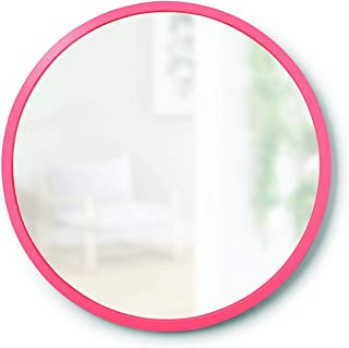 Alfa Design Hub Wall Mirror with Wood Frame - 23.5-Inch Round Wall Mirror for Entryways, Washrooms, Living Rooms, Grey Pink