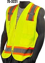 Majestic Glove 75-3223/L High Visy Duty Surveyor Vest, Mesh Back, Dot, Class 2, Large, Yellow