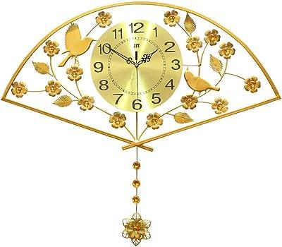 Beauty Brand Wall Clock Quartz Clock Gold Fan Shape Mute Living Room Bedroom Modern Minimalist Creative