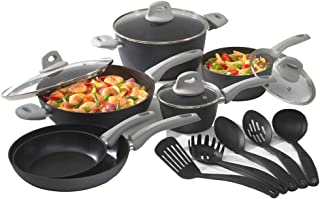 Bialetti Simply Italian 15 piece aluminum non-stick set with soft grip handles