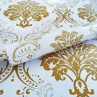 WOW Interiors PVC Self Adhesive, Peel And Stick Golden Floral Wallpaper, 400CMx45CM