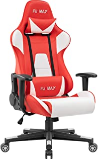 Furmax High-Back Gaming Office Chair Ergonomic Racing Style Adjustable Height Executive Computer Chair,PU Leather Swivel Desk Chair (White/Red)