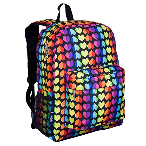 Wildkin Kids 16 Inch Backpack for Boys and Girls, Ideal Size for Kindergarten, Elementary, and Middle School, Perfect for School and Travel, 600 Denier Polyester, BPA-Free (Rainbow Hearts)