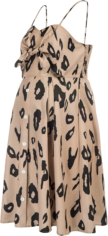 Maacie Women Maternity Striped Cami Dress Spaghetti Straps Buttons Down Dress