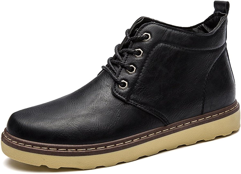 BomKin Men's Fashion Leather Ankle Bootie Winter Combat Boots