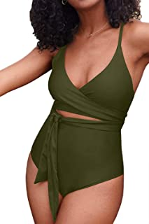 ioiom Women Criss Cross Tie Knot One Piece Swimsuits High Waisted Tummy Control Bathing Suit