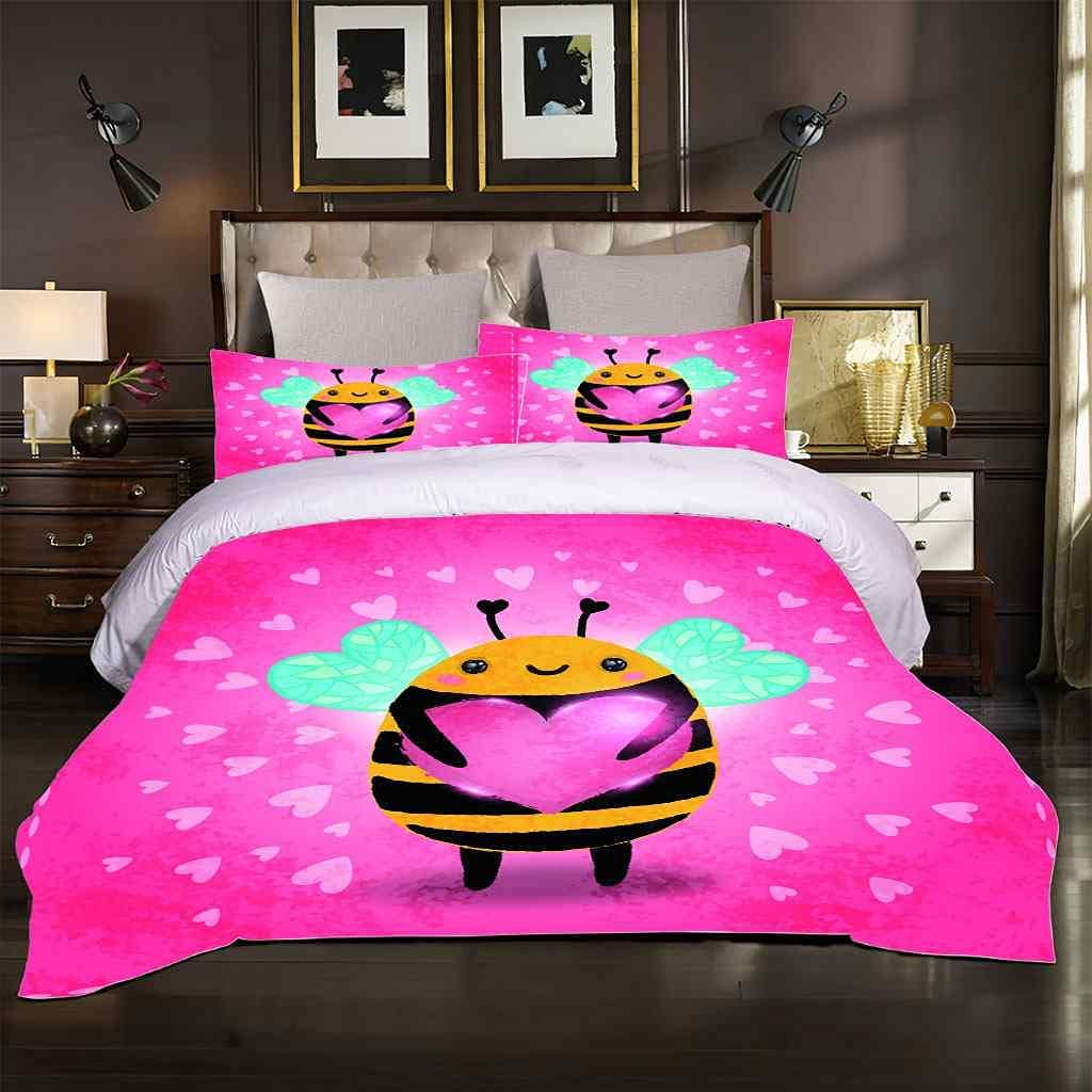 AYGWHW Duvet New product!! Cover Set Full Size Bee Soft Purple Ultra Max 89% OFF Pieces 3