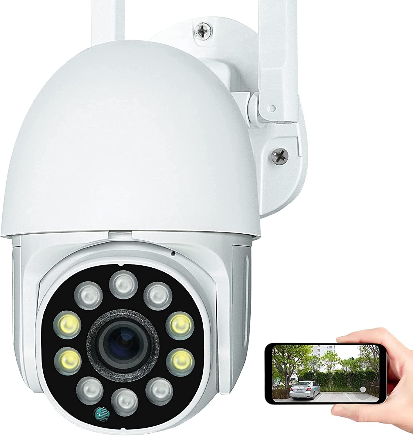 Security Outdoor Camera for Home use, Surveillance Camera with WiFi, 2-Way Audio with Mic and Speaker,360° View,1080P,PTZ,IP66,Compatible with Alexa and Google Assistant