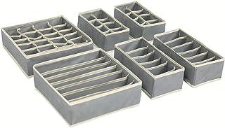 Yucch Lot de 6 Organiseurs de Tiroir pour sous-vètements, Boîte de Rangement Pliable Closet Organiseurs Ideal pour Soutie...