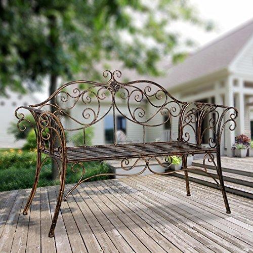 HLC Banc Jardin en Fer forgé banquette-Bronze-133x49x90cm