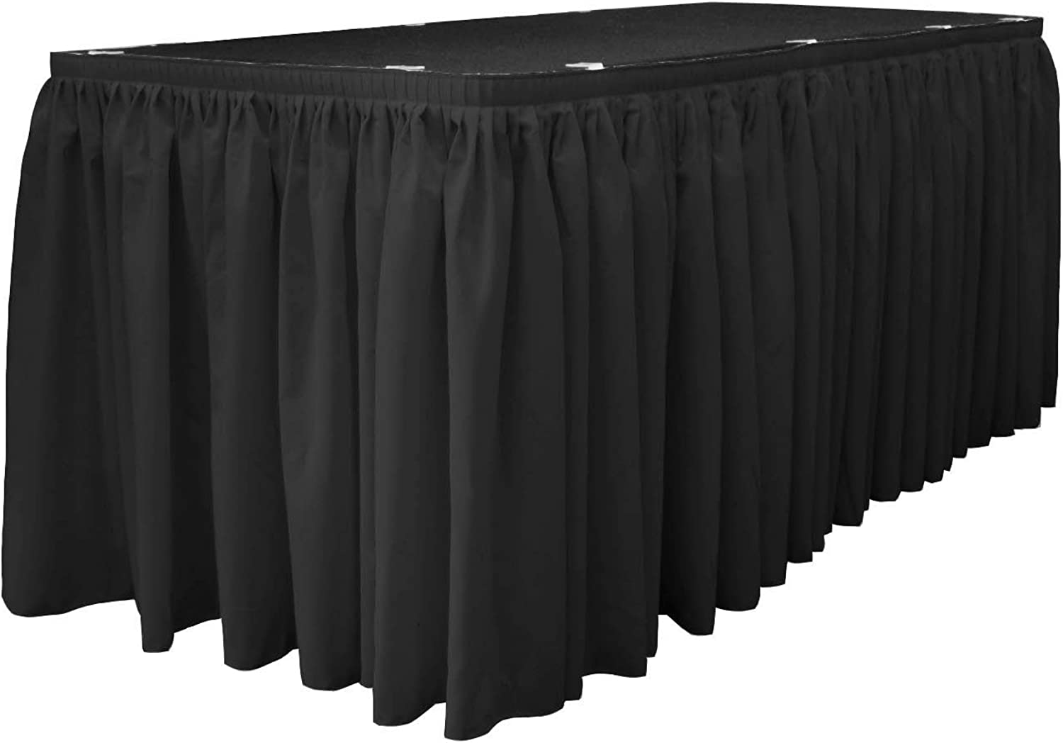 LA Linen Oversized Polyester Poplin Table Skirt 30-Foot by 29-Inch Long with 15 L-Clips, Black