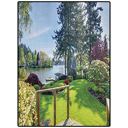 Nature Modern Rugs Indoor Outdoor Sunny Spring Season Day Pier View in Countryside Rural Cottage Theme Nature Image Multicolor 90' x 61'