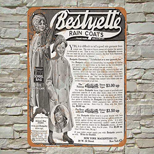 Henson 1913 Bestyette Regenjassen Traditionele Vintage Tin Teken Logo 12 * 8 Advertising Eye-Catching Muurdecoratie
