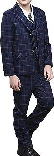 [美しいです] 子供服 ボーイ 洋服 スーツ セット3点セット チェック コート パンツ ズボン チョッキ 折り襟 春秋冬