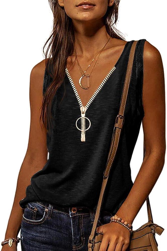 Danedvi Women Fashion Zipper V-Neck Tank Top Pure Color Sleeveless Summer Women Top Cami Shirts S-XXL